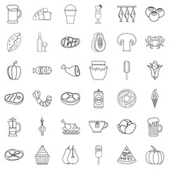 Bottle icons set, outline style