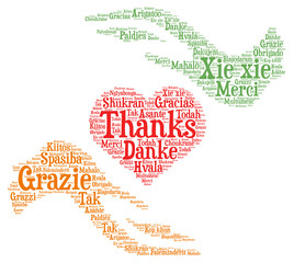 Words cloud concept of thanks, heart shape.