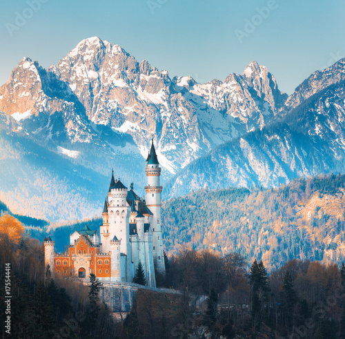 The Famous Neuschwanstein Castle In Background Of Snowy Mountains At Sunset Germany Beautiful