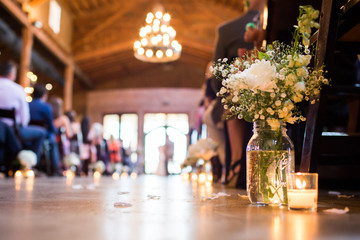 Wedding Ceremony Aisle Blurred Out Flowers
