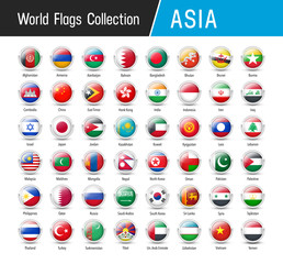 Set of Asian flags - Vector round icons