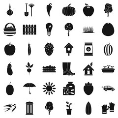 Garden icons set, simple style