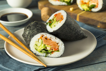 Raw Homemade Salmon Sushi Burrito