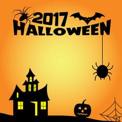 halloween card illustration black on orange