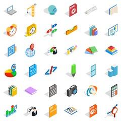 Printing icons set, isometric style