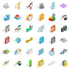 Pencil icons set, isometric style