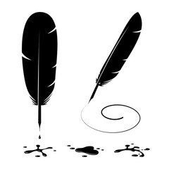 Feather Pen And Ink Blots Silhouettes