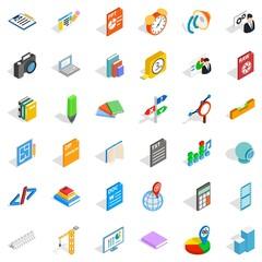Marker icons set, isometric style