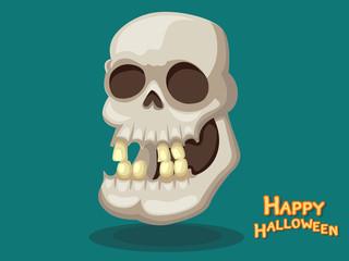 Skull cartoon vector Halloween on Background