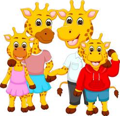 Wall Murals Kids happy family of giraffe cartoon
