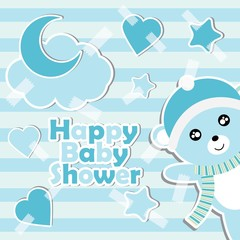 Vector cartoon illustration with cute baby bear boy on striped background suitable for Baby shower invitation card design, postcard and wallpaper