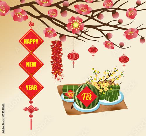 Chinese new year background blooming sakura branches vietnamese new chinese new year background blooming sakura branches vietnamese new year translation tt m4hsunfo