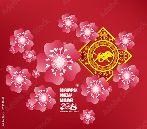 chinese new year background blooming sakura branches year of the dog
