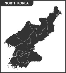 The detailed map of the North Korea with regions