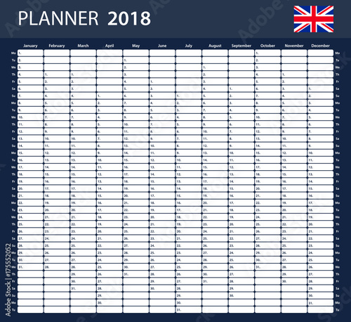 UK Planner blank for 2018. English Scheduler, agenda or diary ...