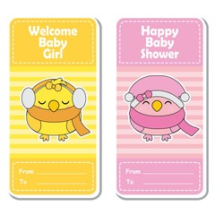 Vector cartoon illustration with cute pink and yellow birds on striped background suitable for Baby shower label design, banner set and invitation card