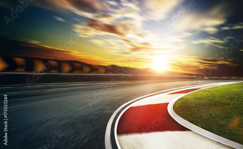 Wall mural Motion blurred racetrack,cold mood