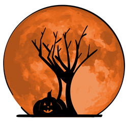 Silhouette of a jack-o-lantern in front of a leafless tree.