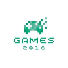 Joystick game style pixel design icon