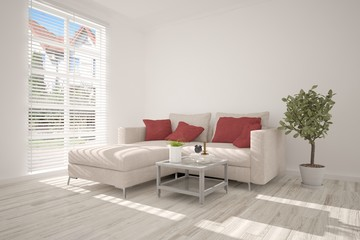 Idea of white minimalist room with sofa. Scandinavian interior design. 3D illustration