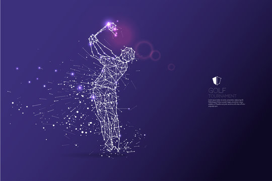 The particles, geometric art, line and dot of golf player action