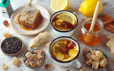 Firming tea with spices, lemon and ginger