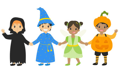 happy boys and girls wearing Halloween costumes and holding hands, cartoon vector for Halloween.