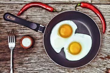 Keuken foto achterwand Gebakken Eieren Eggs. Fried egg in a frying pan.