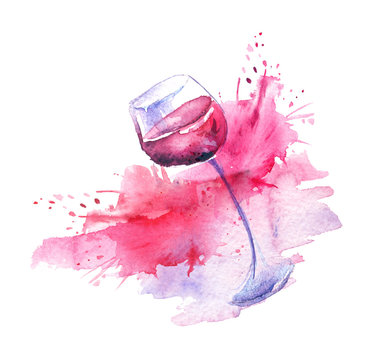 Watercolor drawing. Spilled wine, a fallen glass, a wine glass. Splash paint, a spilled drink, a spray. The illustration is made in watercolor. On white isolated background.