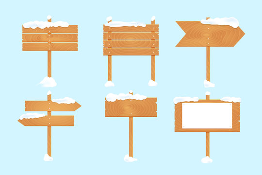 Wooden blank board signs with snow set. Vector illustration.