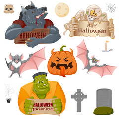 Set of Halloween related objects