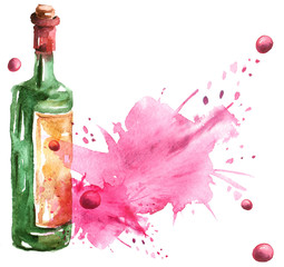 Watercolor drawing, postcard, invitation, menu, wine list. Watercolor bottle with red wine Splash paint, a spilled drink, a spray. The illustration is made in watercolor.