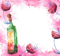 Watercolor drawing, postcard, invitation. Spilled wine, a fallen glass, a wine glass. Splash paint, a spilled drink, a spray. The illustration is made in watercolor. On white isolated background.
