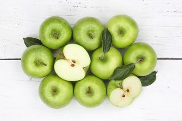 Äpfel Apfel grün Obst Frucht Früchte von oben