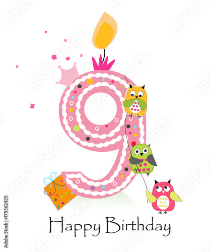Happy Ninth Birthday With Owls Baby Girl Greeting Card Stock Photo