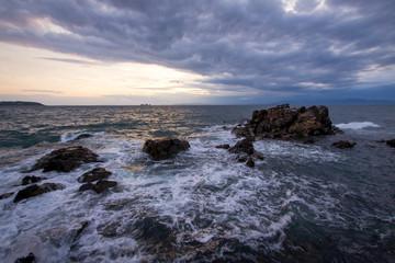 Russia. Storm on the sea coast.