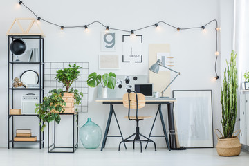 Creative home office with plants
