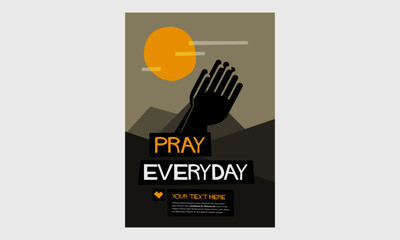 Retro 'Pray Everyday' Poster With Folded Hands