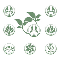 Abstract vector tree emblem. Eco lifestyle concept template.