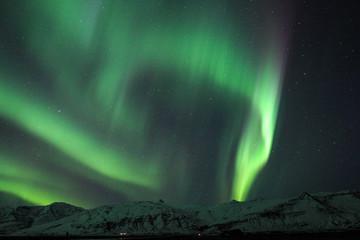 The Northern Lights (Aurora borealis) over Jokulsarlon in Iceland