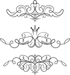 Set of 3 hand drawn style decorative vector swirls elements, dividers, page decors.