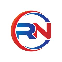 rn logo vector modern initial swoosh circle blue and red
