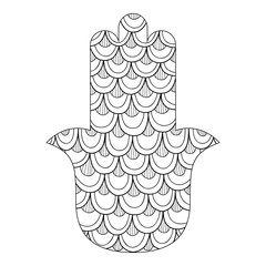 Hamsa hand drawn symbol. Black and white illustration for coloring page. Decorative amulet for good luck and prosperity