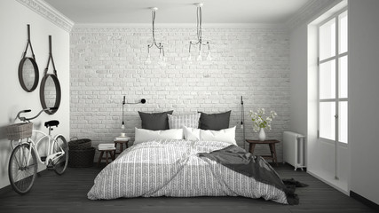 White and gray modern bedroom with cozy double bed, brick wall, wooden floor and big window, scandinavian minimalist architecture interior design