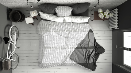 White and gray modern bedroom with cozy double bed, brick wall, wooden floor and big window, scandinavian minimalist architecture interior design, top view