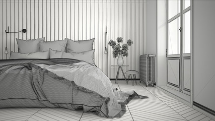 Wall Murals Illustration Paris Unfinished project of scandinavian minimalist bedroom with big window and herringbone parquet, architecture interior design, close-up