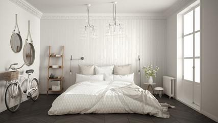 Scandinavian minimalist bedroom with big window and herringbone parquet, white and gray interior design