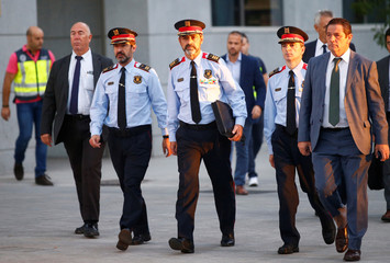 Josep Lluis Trapero, the head of Catalan police, is seen on his way to the Spain's High Court to testify for the alleged crime of sedition in relation to arrests of high-ranking officials over the organisation of a banned independence vote in Madrid