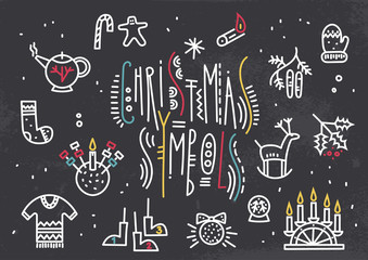 Vector line art illustration of cute Christmas symbols with trendy lettering on a black background.
