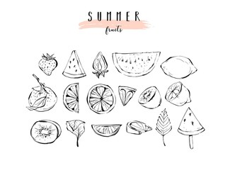 Hand drawn vector graphic summer fruits icons illustration collection set with strawberry,watermelon,orange,kiwi,lemon and mint leaves isolated on white background.Cook book,logo,organic farmers menu